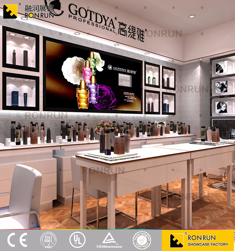 Modern style cosmetic display counter furniture wall cabinet with LED light for cosmetic store interior layout design
