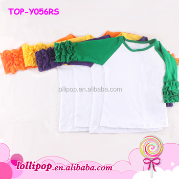 37e05835f Infant/toddler Cotton ruffle raglan sleeve kids t shirts girls ruffle raglan  T shirt baby