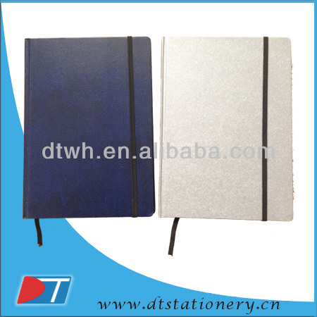 Hardcover notebook with elastic band/agenda/notebook with paper pocket/recycle notebook