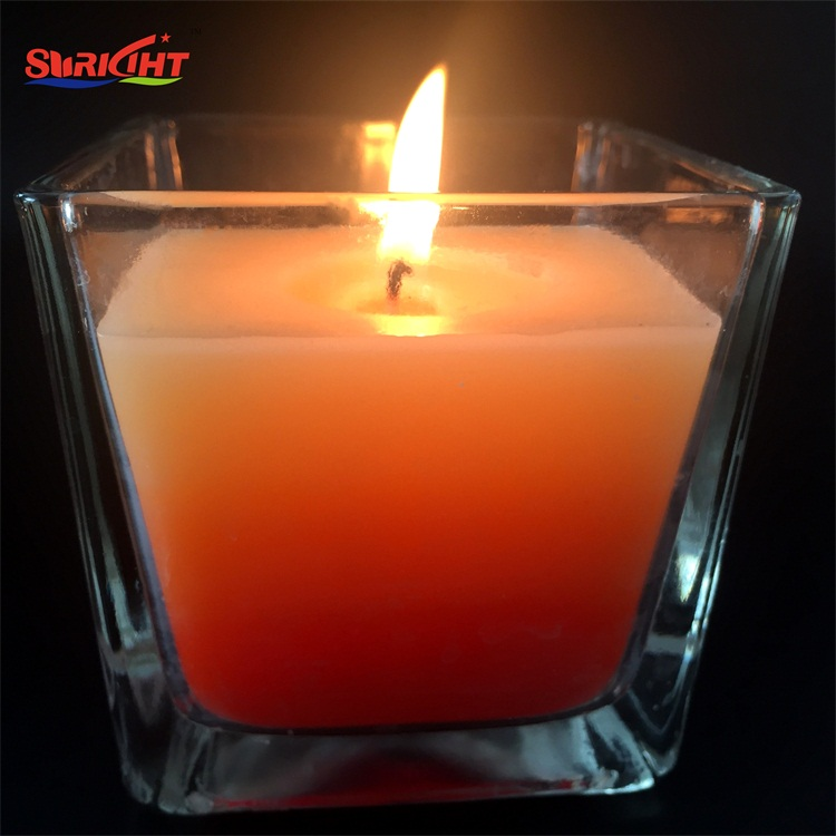 Orange Layers Handmade Scented 8oz Crystal Recycled Container Candle