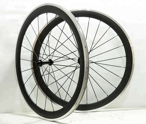 Cheap Carbon Clincher 50mm Bicycle Wheelset With Alloy Brake Surface Road Chinese Bike Aero Wheels