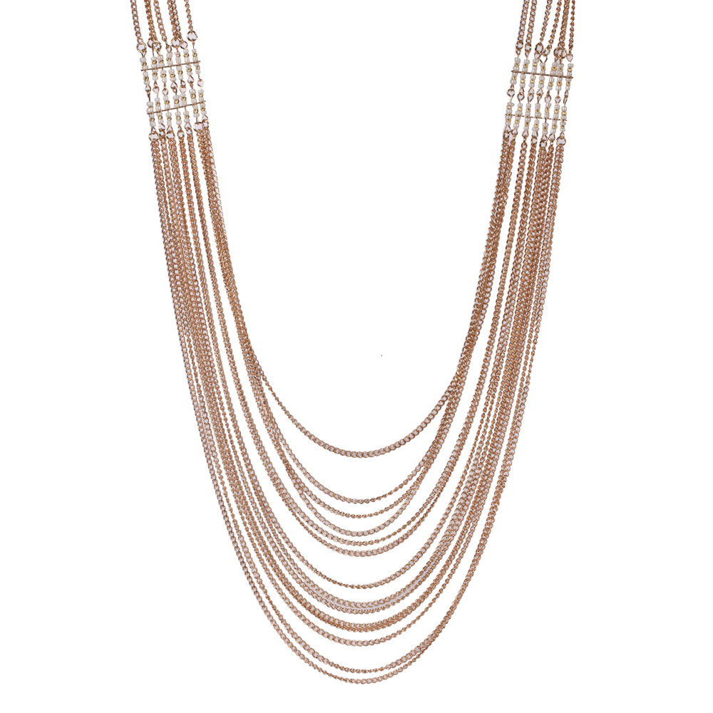 European and American new hot - selling alloy multi-layer tassel bead - style necklace chains
