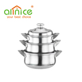 Africa Hot Selling Cooking Pot 3/4pcs Stainless Steel Casserole Set