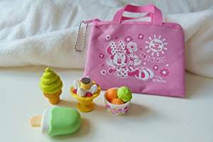 Iwako Desserts - ice cream cone, pudding, ice cream cup and ice lolly Japanese Erasers with Pink Zipper Bag