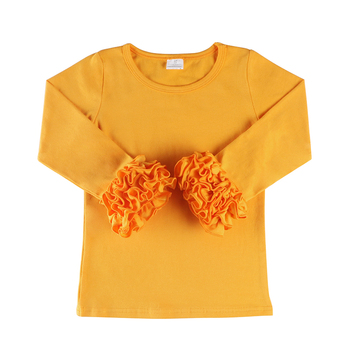 Toddler Kids clothes Cotton Autumn ruffle Long Sleeve teens clothing t shirt girl