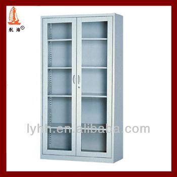Top Grade 2 Door Glass Steel Filing Cabinet Polished
