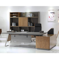 luxury leather office furniture high glass laminate office desk W02 executive stainless steel boss desk