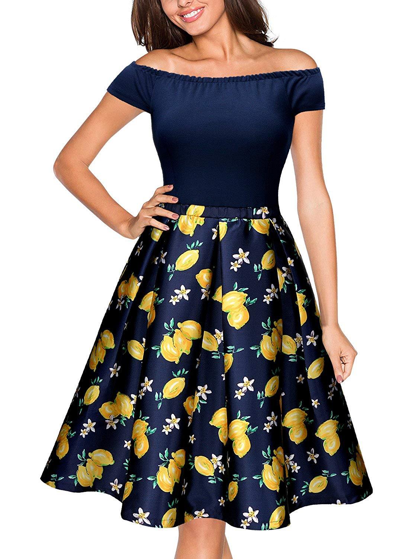 Miusol Women's Casual Scoop Neck Polka Dot Contrast Slim Party Dress
