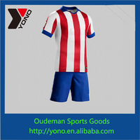 Fashionable SOCCER wear, new custom red white stripe soccer jersey