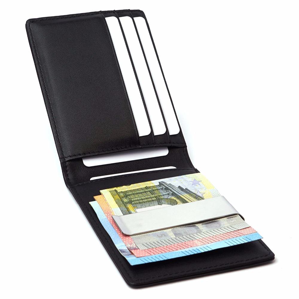 b4d4c7ced89f Leather Mens Pocket RFID Slim Wallet Credit Card Holder RFID Card Holder  Leather Money Clip