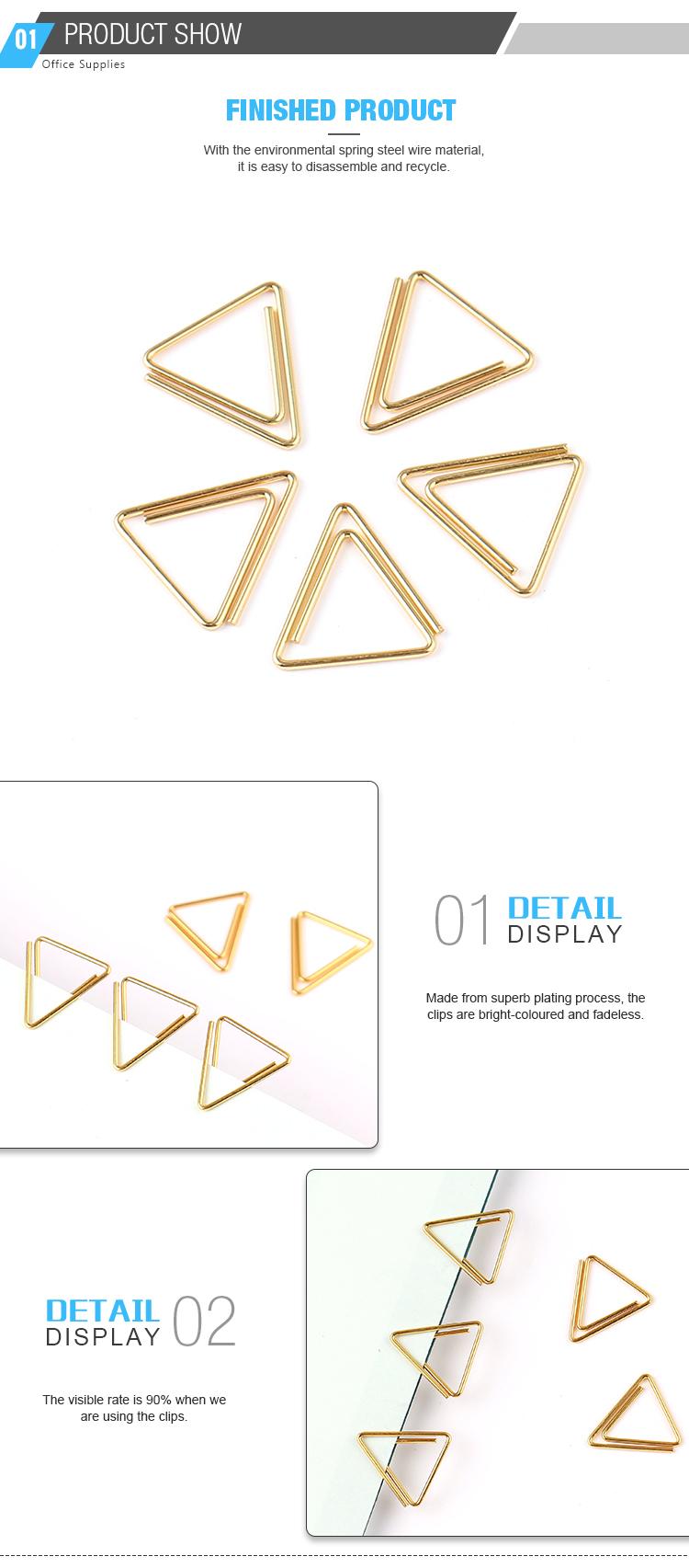 Logotipo Personalizado Design japonês Ouro Clipe de Papel Clipe De Papel Triângulo Especial