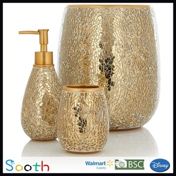 Mosaic Gl Ceramic Gold Coloured Bathroom Accessories