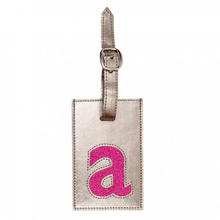 Fashion silver sparkle PU leather airline bag baggage tags