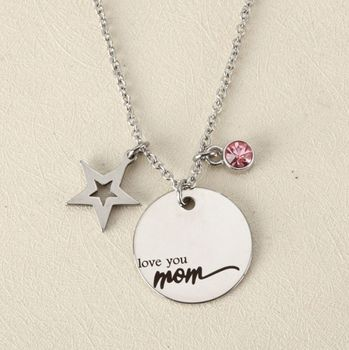 Custom Jewelry Stainless Steel Star Charm With Birthstone Love You Mom Necklace Mother's Day Jewelry