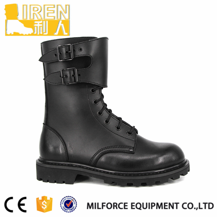 Comfortable sole black leather army ranger combat boot