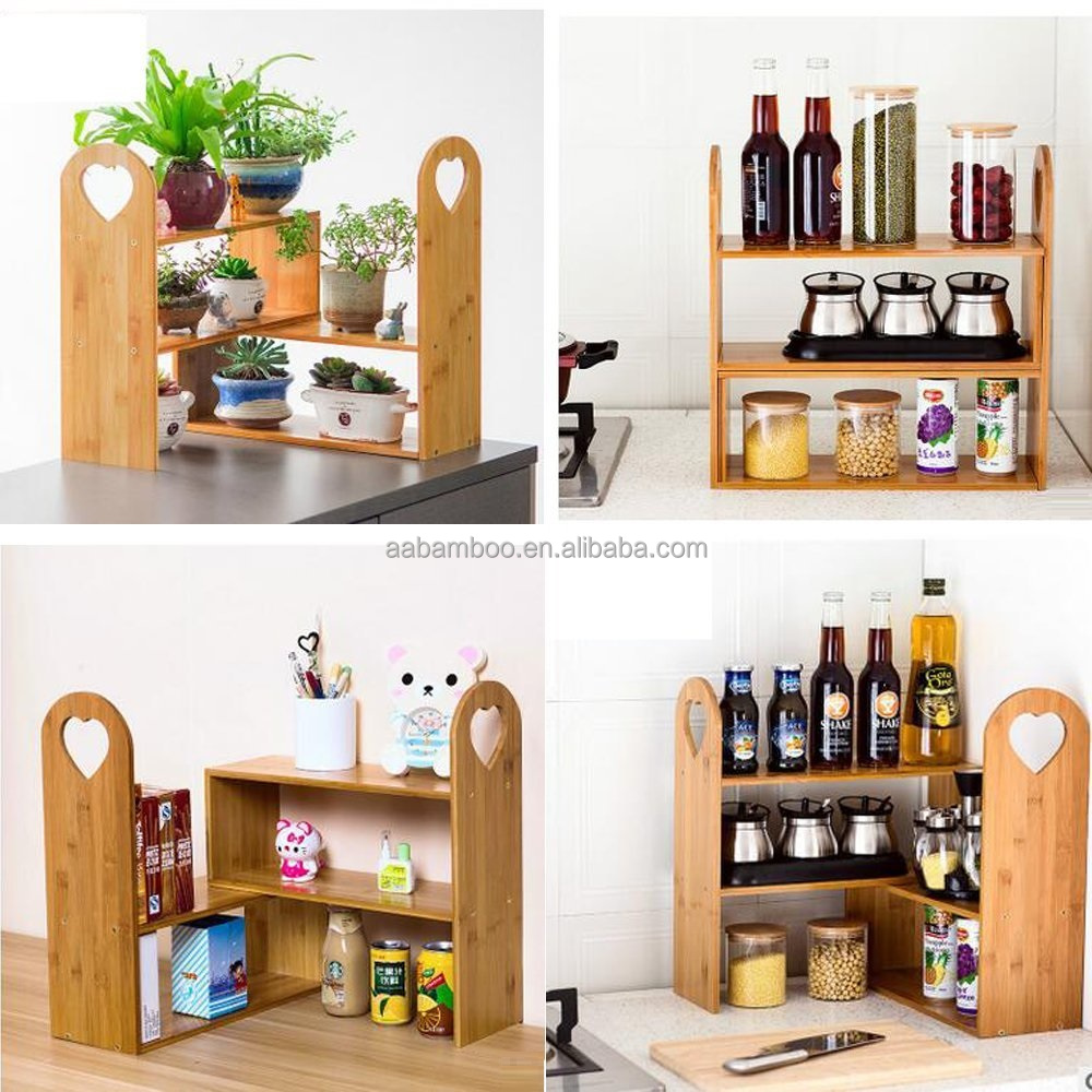 2 Tiers Wooden Tabletop Natural Bamboo Plant Stand Shelf Rack