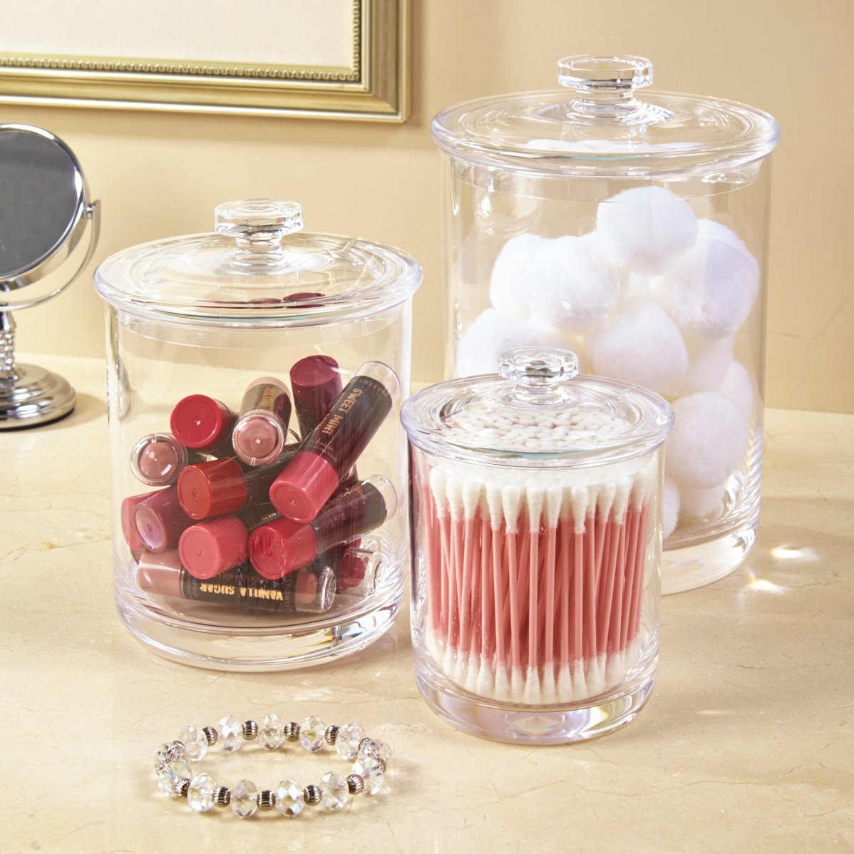 Premium Acrylic Apothecary Jars Set Of 3 Crystal Clear ...