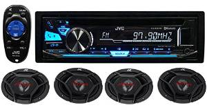 """Package: JVC KD-RD87BT 1-Din CD Player/Receiver With Pandora Control, Bluetooth, And USB + (2) Pair of JVC CS-DR6930 3-Way Car Speakers Totaling 2000 Watt Measure 6""""X9"""""""