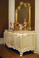 High Quality French Style Wood Carving Buffet Cabinet / Royal Palace Glossy Home Decorated Cupboard Sideboard Cabinet & Mirror