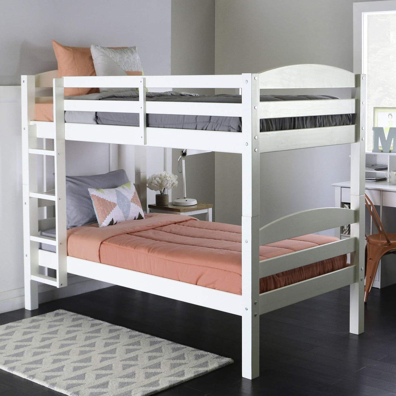 Bunk Beds for Kids Toddler Twin Wood White Your Child Will Sleep in Style and Great Solution for Your Space Saving Needs by HomeTeks
