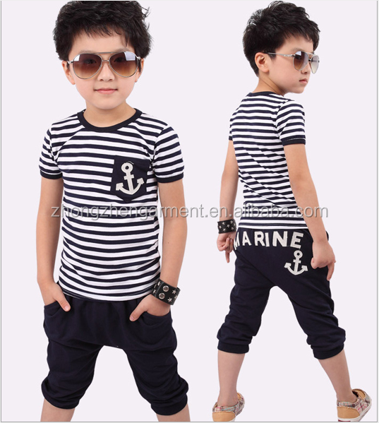 100% cotton boy summer clothes set kids garment