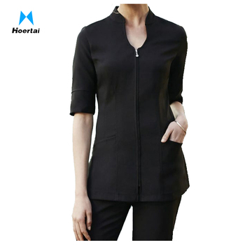 1f22e116e16 Custom Plain Black Spa Uniform Beauty Salon Tunic Tops - Buy Spa ...