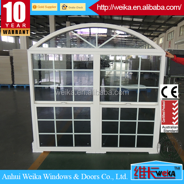 The most popular durable pvc arch top sliding pvc window