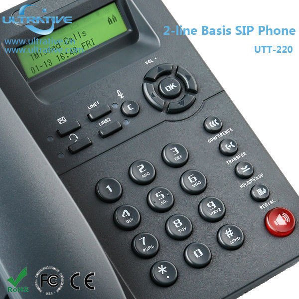 2 Lines VoIP Phone with headset port, Entry Level IP Phone Support 2 SIP accounts, HD SIP Phone Support Multi-language