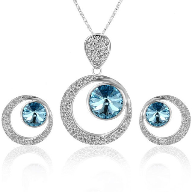 XS6112 Xuping 925 sterling silver color luxury round 원 jewelry set + 결정 from Swarovski women crystal jewelry set