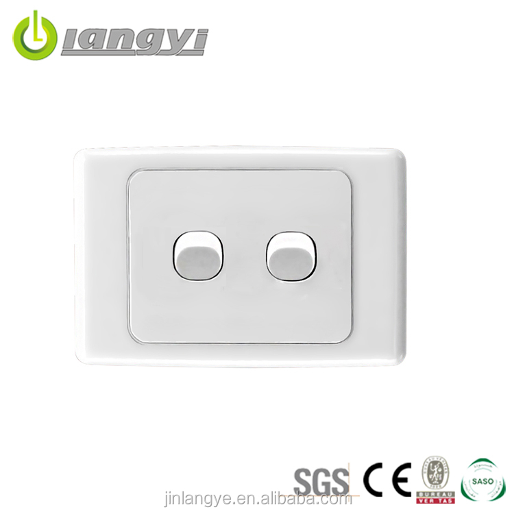 New Designed Eco-Friendly Save Power Unique Design White 2 Gang 2 Way Switch