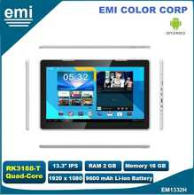 13.3 pollice IPS android tablet pc con Quad <span class=keywords><strong>core</strong></span>, WiFi, Bluetooth