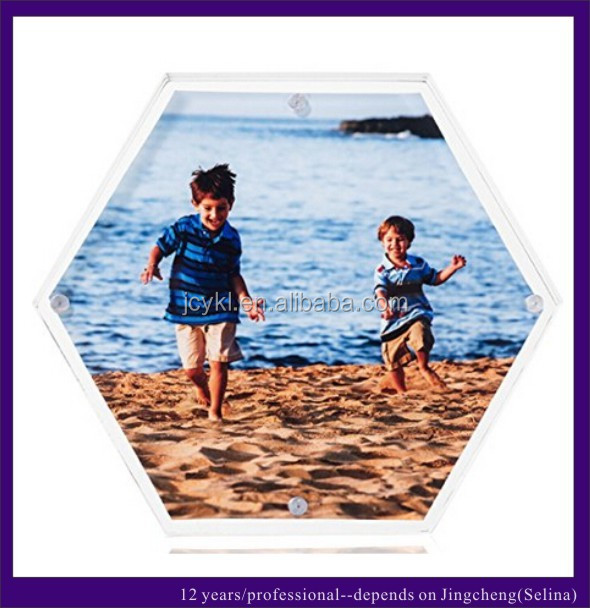 Hexagon Shape Clear Acrylic Photo Frame with Magnet