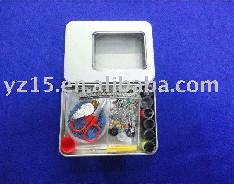 sewing accessories in Mini tin box for house and travelling use
