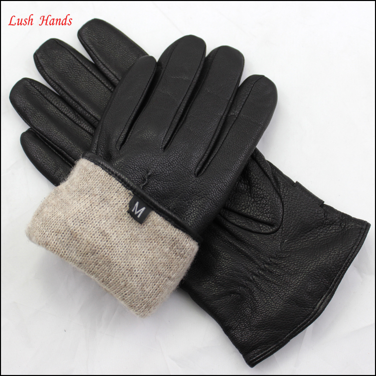 Men's sheepskin winter leather gloves with belt buckle