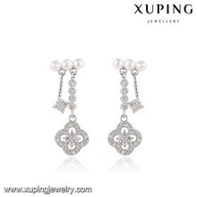 E-420 Xuping factory top quality hot selling wedding bridal elegant rhodium gold plated earring