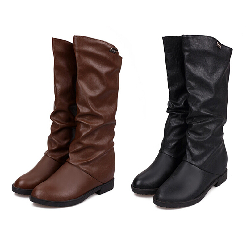 75770b496989 Get Quotations · Middle Cylinder Boot 2015 Autumn And Winter Increased  Single Boot In Flat Bottom Waterproof Boots Black