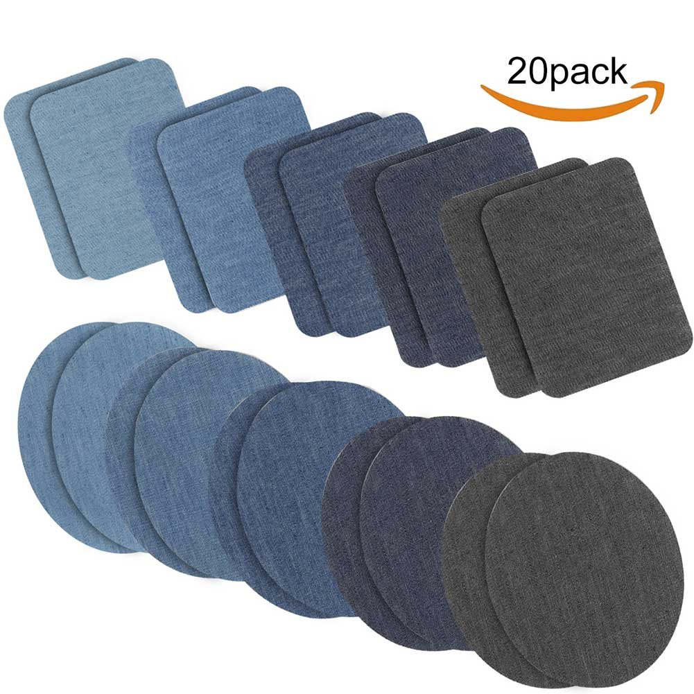 Iron on Patches 20 Pieces Jacket Jean Clothes Denim Patches Iron-on Repair Patches Kit by eMgioo, 5 Colors
