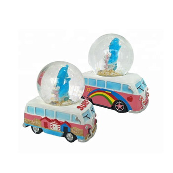 Cheap beach souvenir resin bus design glass snow globe