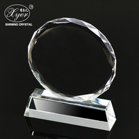 Hot saling customized transparent K9 crystal glass round shaped trophy photo sunflower shape trophy blank