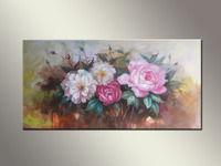 Top Quality Handmade Beautiful China Rose Oil Painting for Wall Decorations