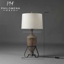 High quality antique style decorative hotel table lamps with wood lampstand and linen pagoda shade