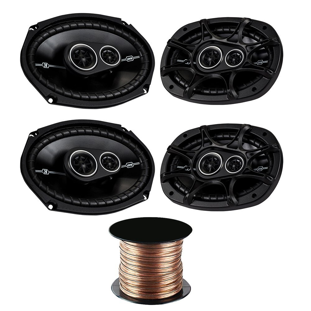 "(2X) Kicker DSC6934 6""x9"" 3-Way Speakers with 50 Feet 18 Gauge Speaker Wire"