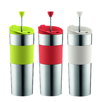 OEM Stainless Steel Double Wall Travel French Press Coffee Tea Cup