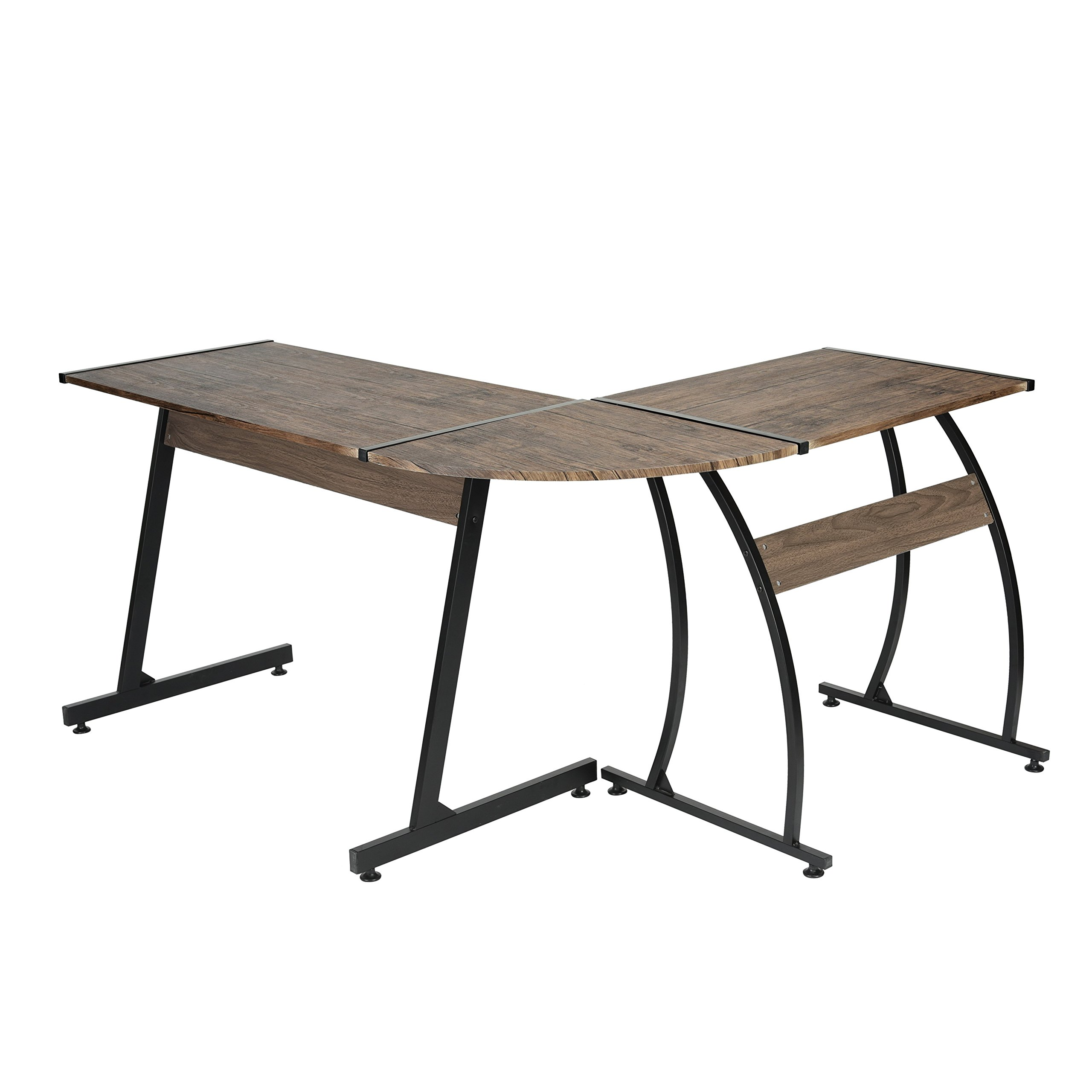 Dark Brown Finish / Black Metal Wood L-Shape Corner Computer Desk PC Laptop Table Workstation Home Office