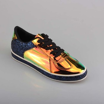 cc7d721765d47 2019 Latest street trend design personality high gloss gold shiny pu casual  shoes women