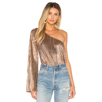 2018 Latest Women Metallic Pleated Design One Shoulder Tops HST9379