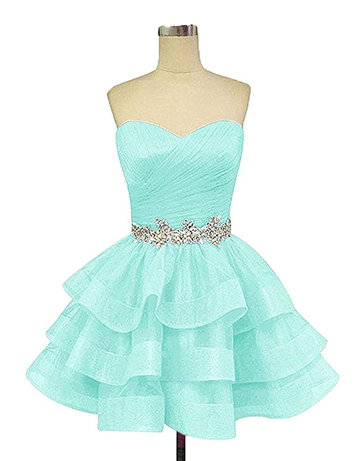 bcf26e36c471 Get Quotations · Ladsen Women's Sweetheart Homecoming Cocktail Dress Puffy  Short Beading Prom Dresses For Juniors L178 Mint Green