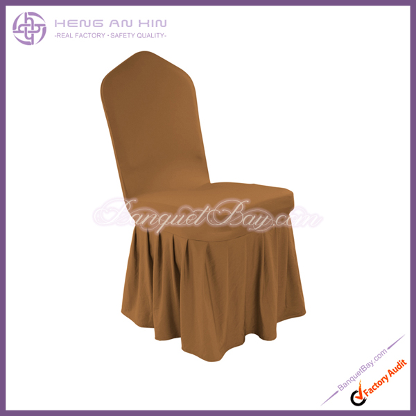 coffee spandex skirting swag chair cover for wedding