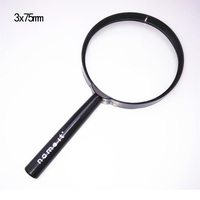 2x75 high quality plastic handheld magnifying glass