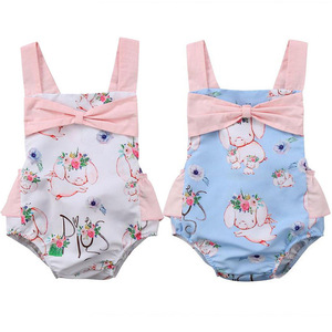0b24005473fc7 Newborn Infant Baby Girls Kids Romper Cute Floral Pig Print Jumpsuit  Backless Bowknot Clothes Outfits
